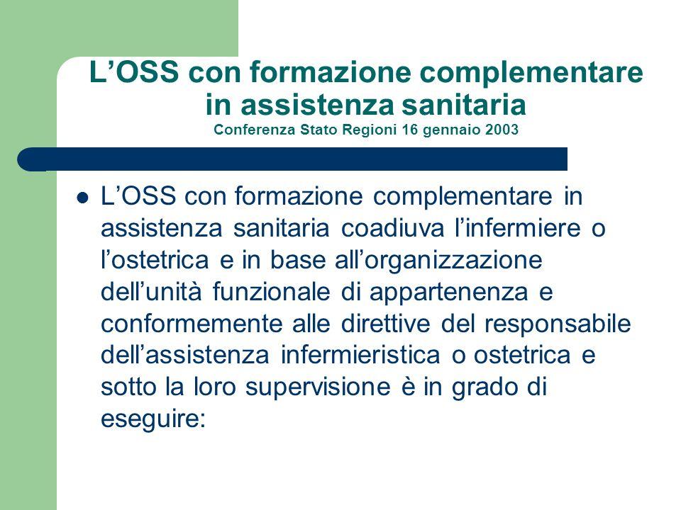 LOSS con formazione complementare in assistenza sanitaria Conferenza Stato Regioni 16 gennaio 2003 LOSS con formazione complementare in assistenza san