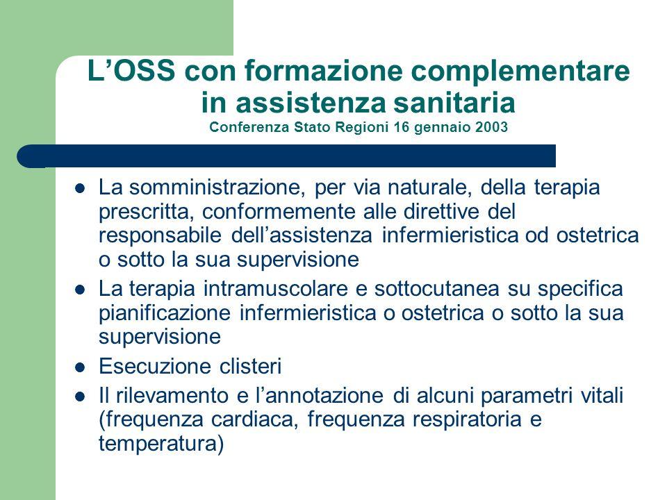 LOSS con formazione complementare in assistenza sanitaria Conferenza Stato Regioni 16 gennaio 2003 La somministrazione, per via naturale, della terapi