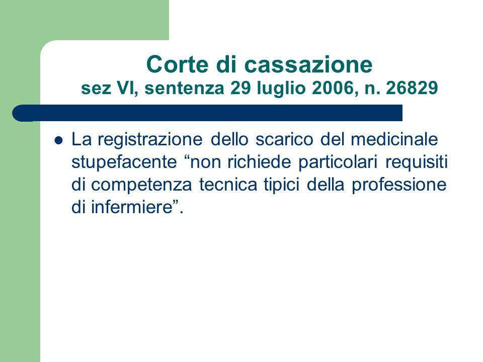 Corte di cassazione sez VI, sentenza 29 luglio 2006, n. 26829 La registrazione dello scarico del medicinale stupefacente non richiede particolari requ
