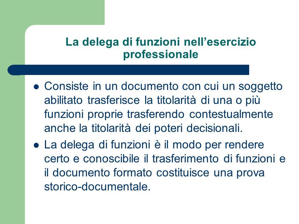 La delega di funzioni nellesercizio professionale Consiste in un documento con cui un soggetto abilitato trasferisce la titolarità di una o più funzio