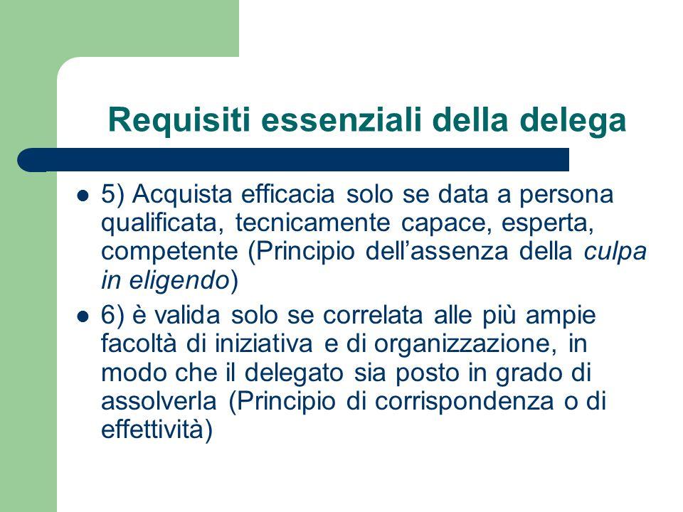 Requisiti essenziali della delega 5) Acquista efficacia solo se data a persona qualificata, tecnicamente capace, esperta, competente (Principio dellas