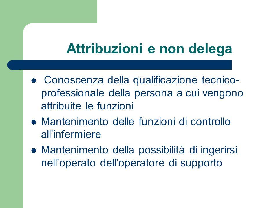 Attribuzioni e non delega Conoscenza della qualificazione tecnico- professionale della persona a cui vengono attribuite le funzioni Mantenimento delle
