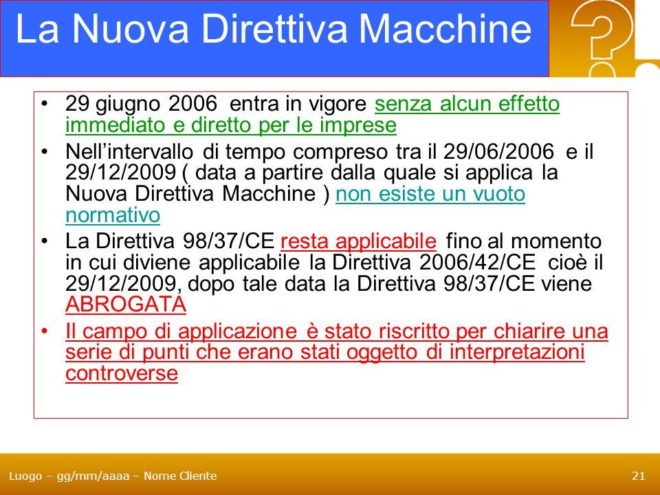 Luogo – gg/mm/aaaa – Nome Cliente21 La Nuova Direttiva Macchine 29 giugno 2006 entra in vigore senza alcun effetto immediato e diretto per le imprese