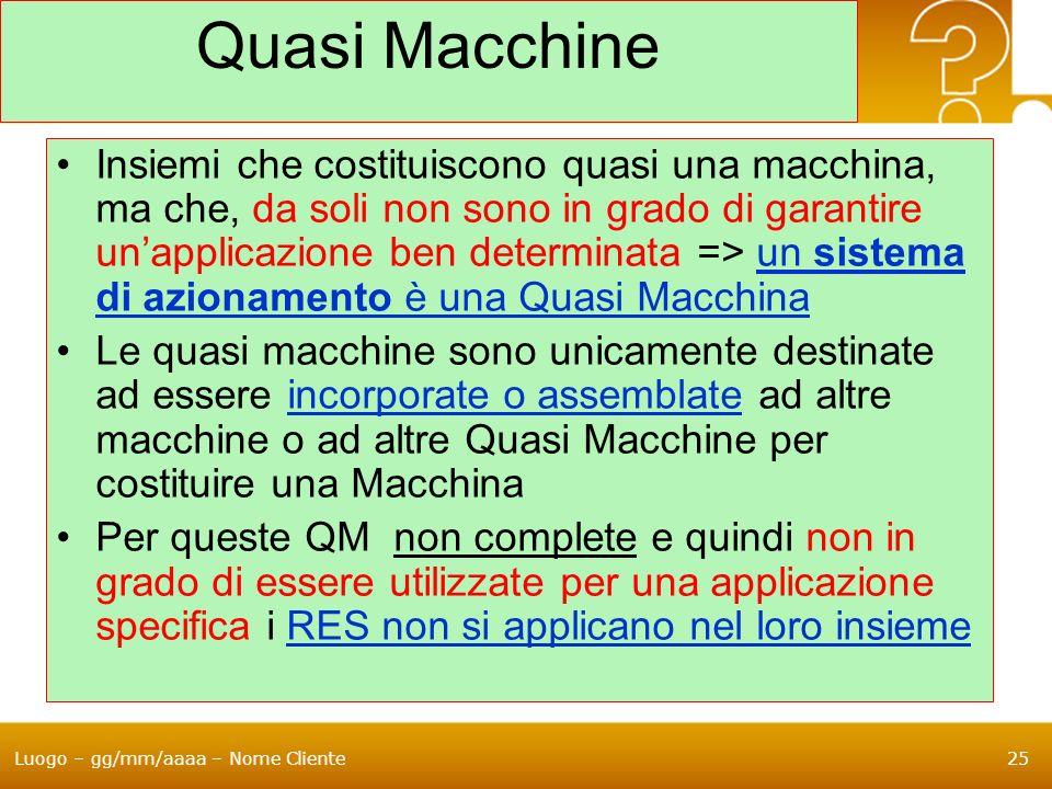 Luogo – gg/mm/aaaa – Nome Cliente25 Quasi Macchine Insiemi che costituiscono quasi una macchina, ma che, da soli non sono in grado di garantire unappl