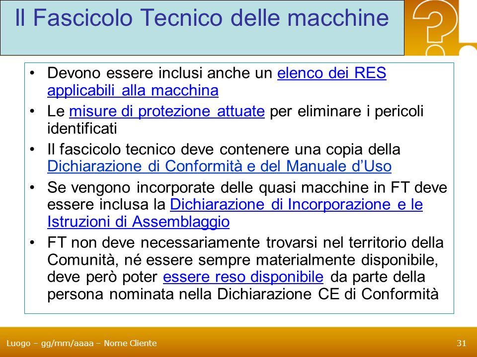 Luogo – gg/mm/aaaa – Nome Cliente31 Il Fascicolo Tecnico delle macchine Devono essere inclusi anche un elenco dei RES applicabili alla macchina Le mis