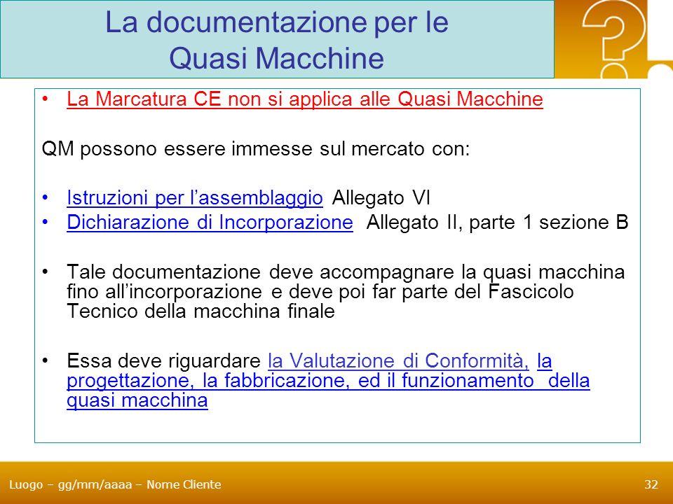 Luogo – gg/mm/aaaa – Nome Cliente32 La documentazione per le Quasi Macchine La Marcatura CE non si applica alle Quasi Macchine QM possono essere immes
