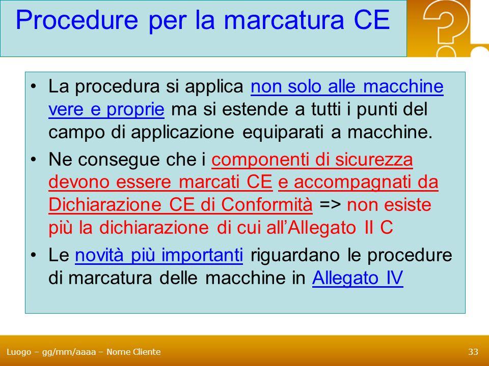 Luogo – gg/mm/aaaa – Nome Cliente33 Procedure per la marcatura CE La procedura si applica non solo alle macchine vere e proprie ma si estende a tutti