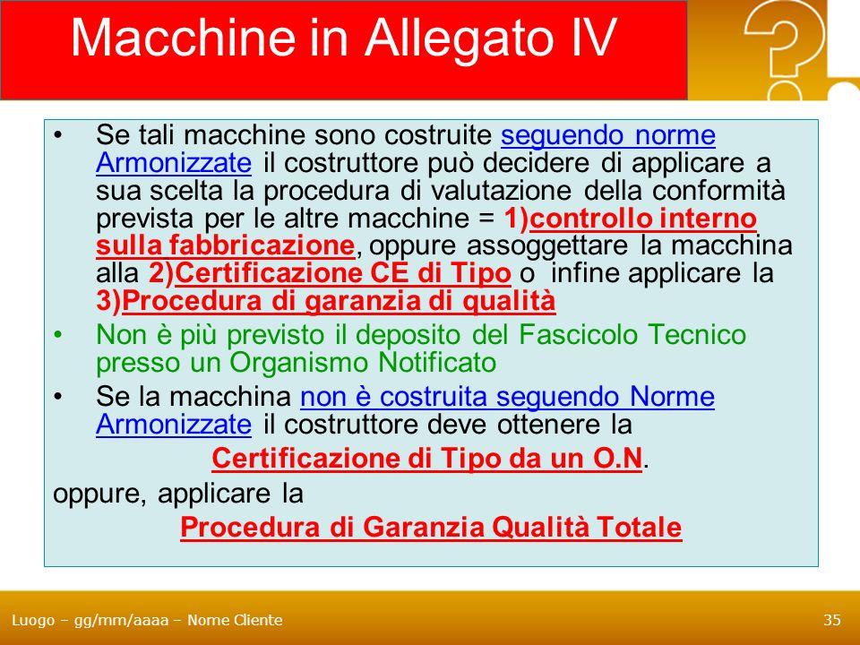 Luogo – gg/mm/aaaa – Nome Cliente35 Macchine in Allegato IV Se tali macchine sono costruite seguendo norme Armonizzate il costruttore può decidere di
