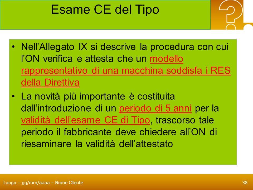 Luogo – gg/mm/aaaa – Nome Cliente38 Esame CE del Tipo NellAllegato IX si descrive la procedura con cui lON verifica e attesta che un modello rappresen