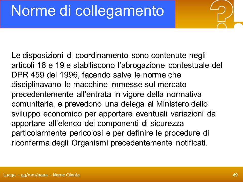 Luogo – gg/mm/aaaa – Nome Cliente49 Norme di collegamento Le disposizioni di coordinamento sono contenute negli articoli 18 e 19 e stabiliscono labrog