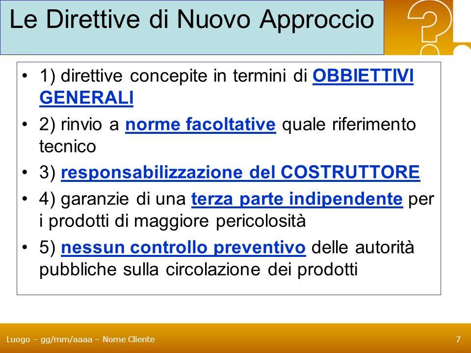 Luogo – gg/mm/aaaa – Nome Cliente7 Le Direttive di Nuovo Approccio 1) direttive concepite in termini di OBBIETTIVI GENERALI 2) rinvio a norme facoltat