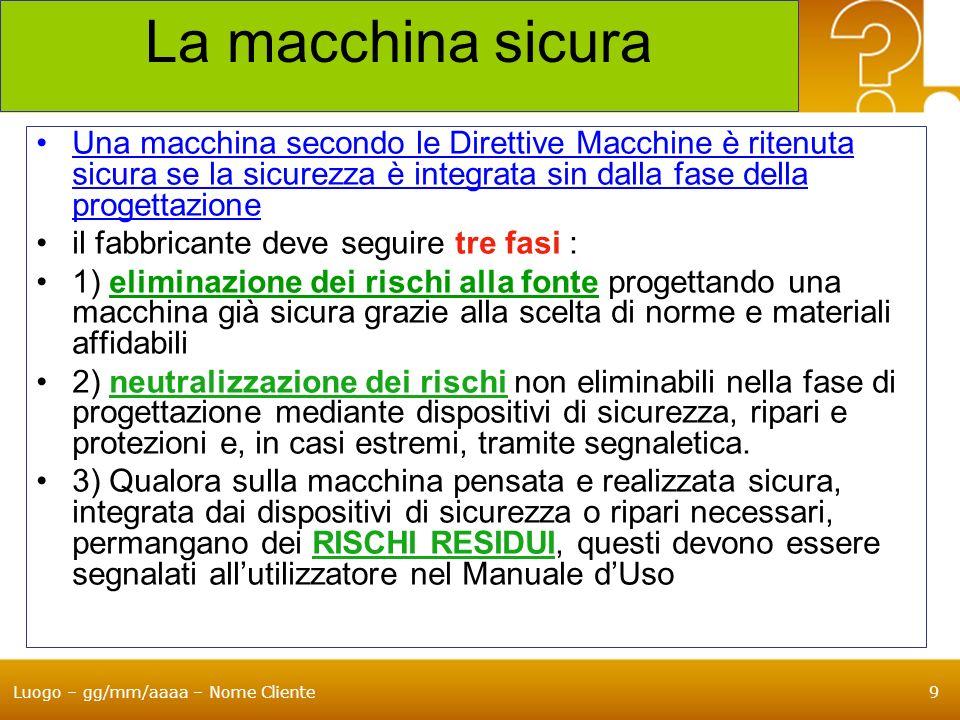 Luogo – gg/mm/aaaa – Nome Cliente30 Il Fascicolo Tecnico delle macchine Le disposizioni relative al fascicolo tecnico sono contenute nellAllegato VII A per le macchine, nellAllegato VII B per le quasi macchine La nuova direttiva ribadisce lobbligo della disponibilità di FT per dimostrare la conformità della macchina ai requisiti della direttiva FT deve riguardare : la valutazione di Conformità, la Progettazione, la Fabbricazione, ed il Funzionamento della macchina La modifica più significativa introdotta nella nuova direttiva riguarda lobbligo di inserire in FT la documentazione relativa alla Valutazione del Rischio che deve dimostrare la procedura seguita