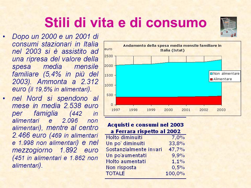 Redditi e consumi familiari Come in Italia, si osserva una crescita delle famiglie che si trovano in una situazione economica peggiore o molto peggior