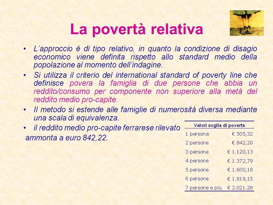 Risultati Alcune stime di povertà: Povertà relativa Povertà assoluta Povertà soggettiva