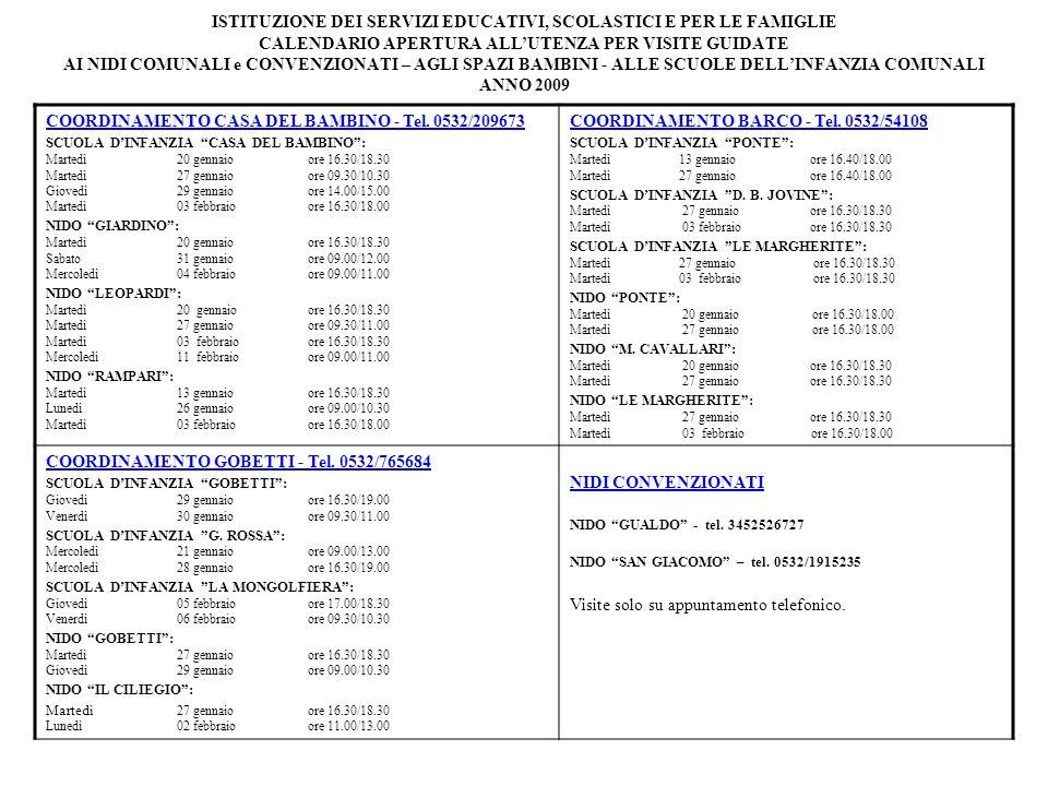 ISTITUZIONE DEI SERVIZI EDUCATIVI, SCOLASTICI E PER LE FAMIGLIE CALENDARIO APERTURA ALLUTENZA PER VISITE GUIDATE AI NIDI COMUNALI e CONVENZIONATI – AGLI SPAZI BAMBINI - ALLE SCUOLE DELLINFANZIA COMUNALI ANNO 2009 COORDINAMENTO CASA DEL BAMBINO - Tel.