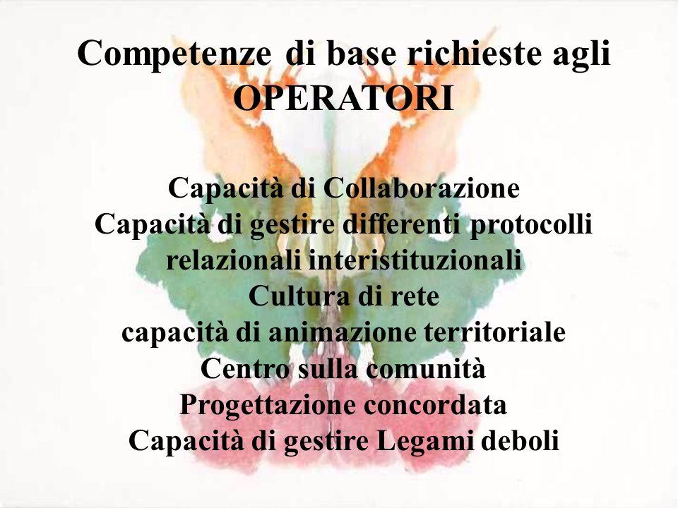 Competenze di base richieste agli OPERATORI Capacità di Collaborazione Capacità di gestire differenti protocolli relazionali interistituzionali Cultur