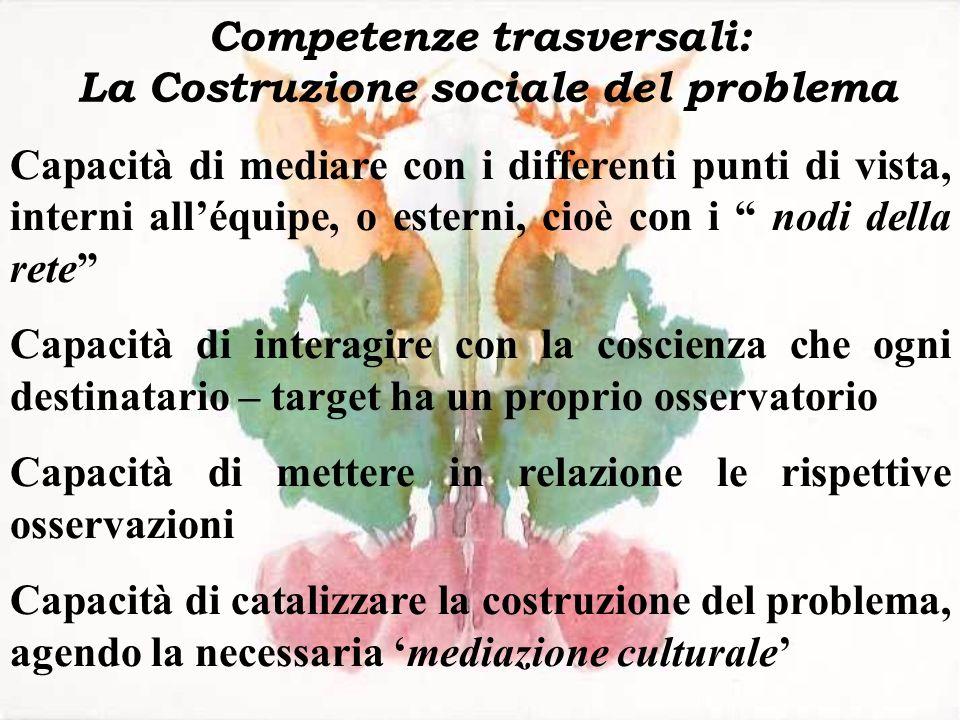 Competenze trasversali: La Costruzione sociale del problema Capacità di mediare con i differenti punti di vista, interni alléquipe, o esterni, cioè co