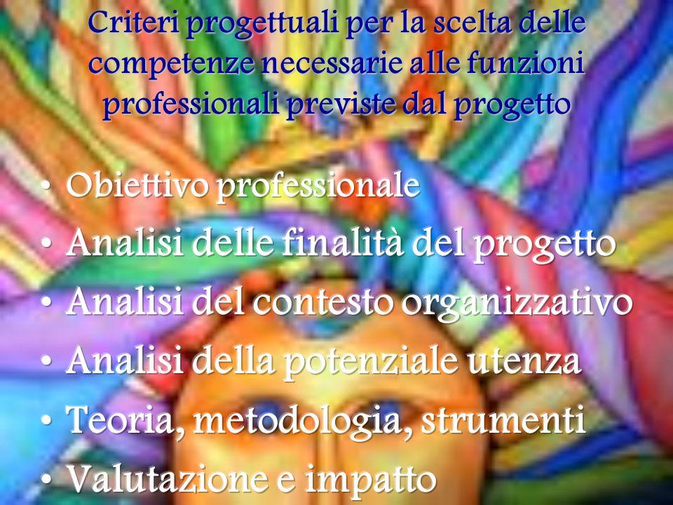 Criteri progettuali per la scelta delle competenze necessarie alle funzioni professionali previste dal progetto