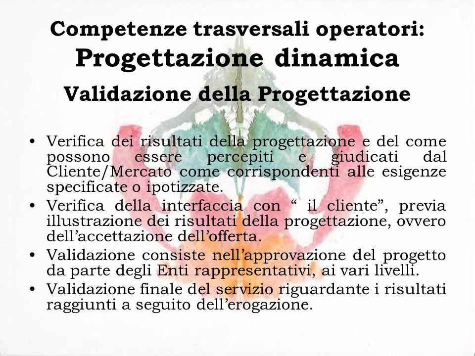 Competenze trasversali operatori: Progettazione dinamica Validazione della Progettazione Verifica dei risultati della progettazione e del come possono