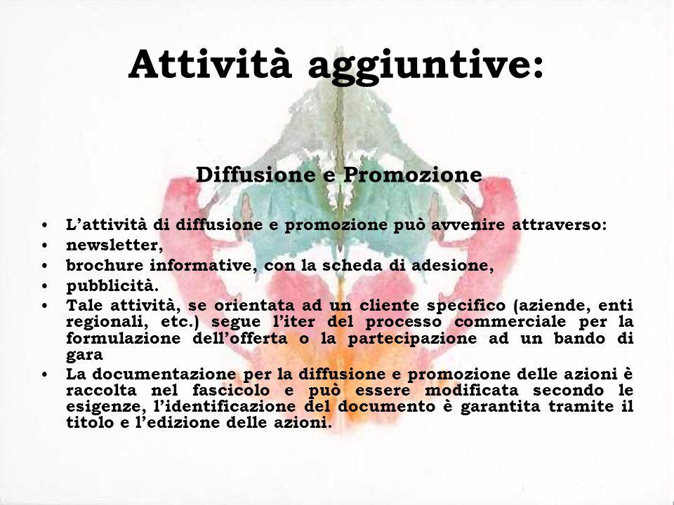 Attività aggiuntive: Diffusione e Promozione Lattività di diffusione e promozione può avvenire attraverso: newsletter, brochure informative, con la sc