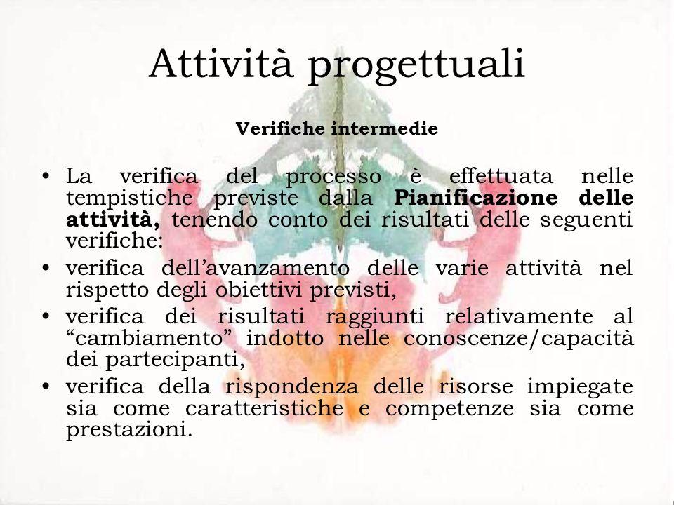Attività progettuali Verifiche intermedie La verifica del processo è effettuata nelle tempistiche previste dalla Pianificazione delle attività, tenend