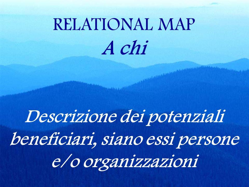RELATIONAL MAP A chi Descrizione dei potenziali beneficiari, siano essi persone e/o organizzazioni