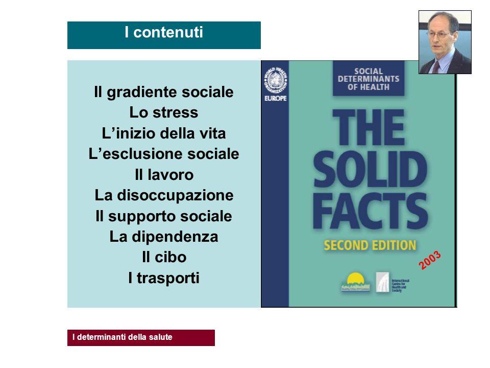 Il gradiente sociale Lo stress Linizio della vita Lesclusione sociale Il lavoro La disoccupazione Il supporto sociale La dipendenza Il cibo I trasport