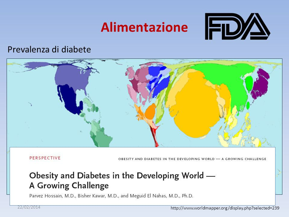 22/02/2014 Alimentazione http://www.worldmapper.org/display.php?selected=239 Prevalenza di diabete