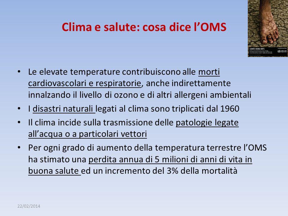 22/02/2014 Clima e salute: cosa dice lOMS Le elevate temperature contribuiscono alle morti cardiovascolari e respiratorie, anche indirettamente innalz
