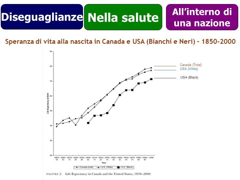 Canada (Total) USA (White) USA (Black) Nella salute Allinterno di una nazione Speranza di vita alla nascita in Canada e USA (Bianchi e Neri) – 1850-20
