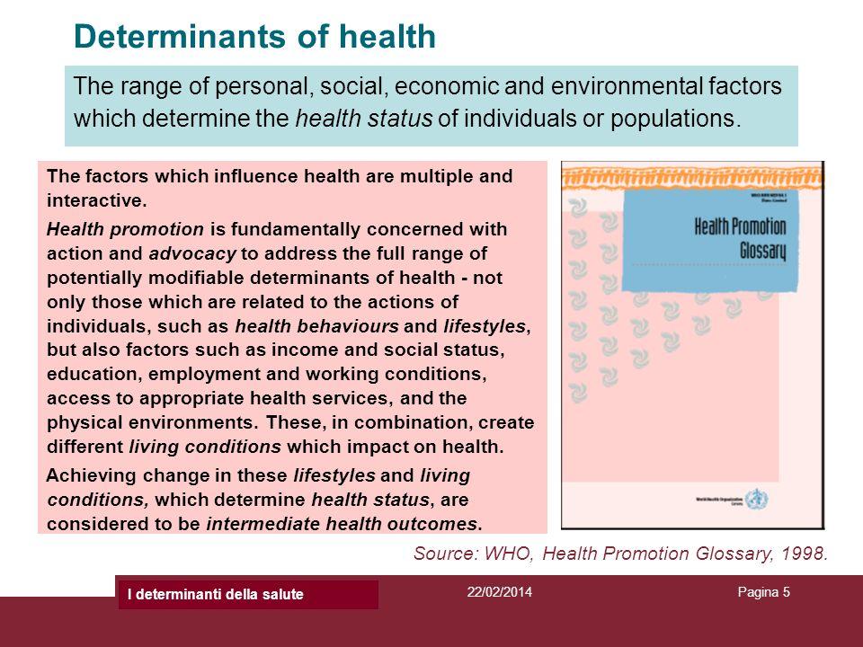 Titolo Presentazione22/02/2014Titolo PresentazionePagina 5 Determinants of health The factors which influence health are multiple and interactive. Hea