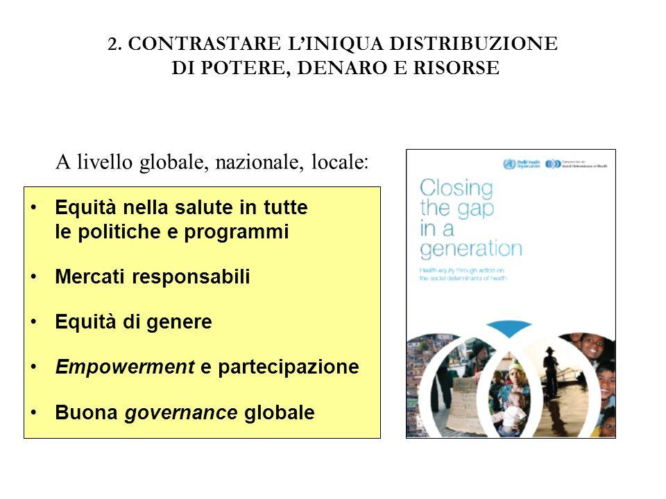 2. CONTRASTARE LINIQUA DISTRIBUZIONE DI POTERE, DENARO E RISORSE A livello globale, nazionale, locale : Equità nella salute in tutte le politiche e pr