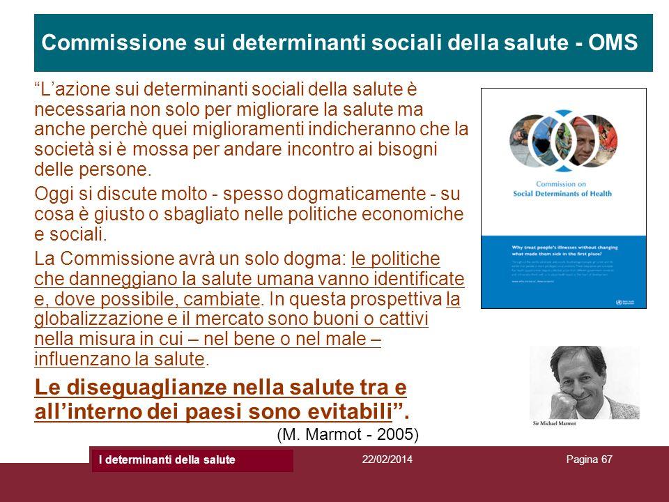 Titolo Presentazione22/02/2014Titolo PresentazionePagina 67 Commissione sui determinanti sociali della salute - OMS Lazione sui determinanti sociali d
