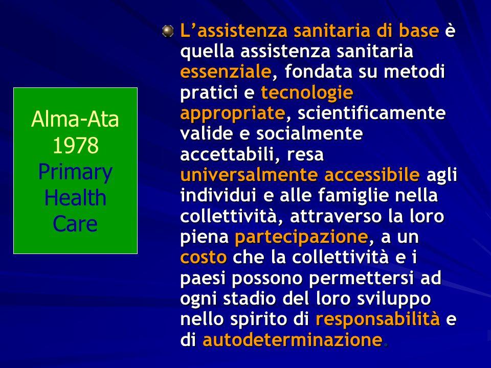 Lassistenza sanitaria di base è quella assistenza sanitaria essenziale, fondata su metodi pratici e tecnologie appropriate, scientificamente valide e