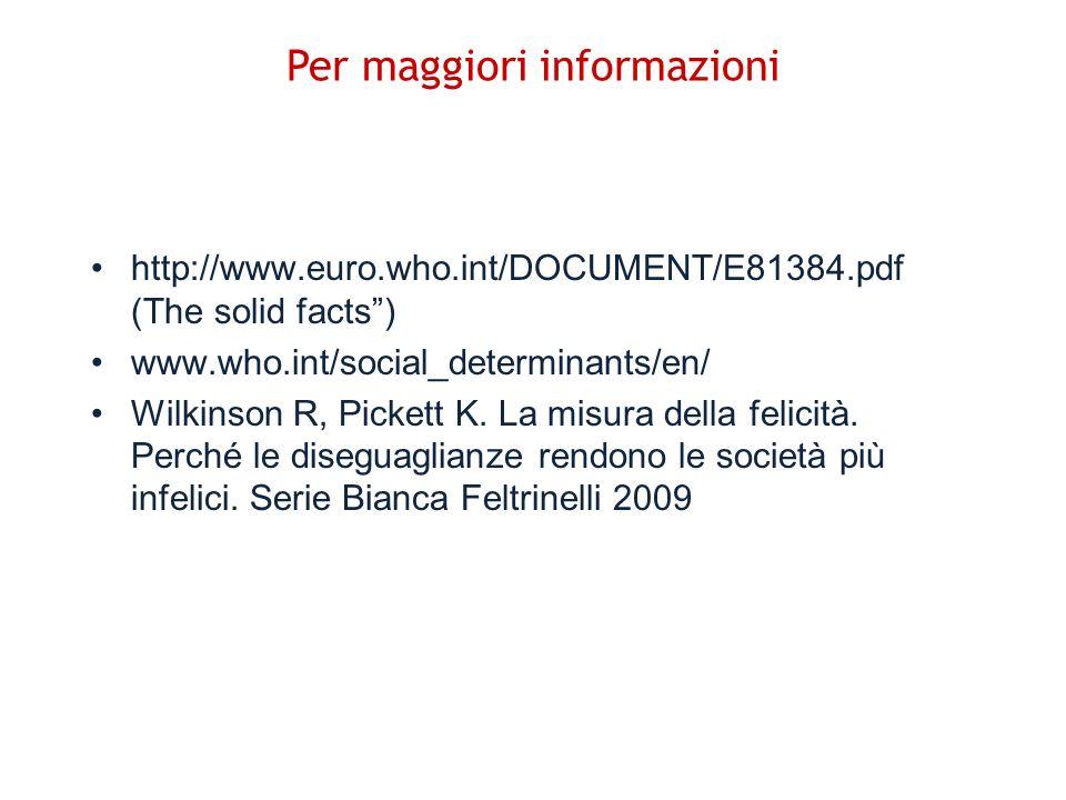 http://www.euro.who.int/DOCUMENT/E81384.pdf (The solid facts) www.who.int/social_determinants/en/ Wilkinson R, Pickett K. La misura della felicità. Pe