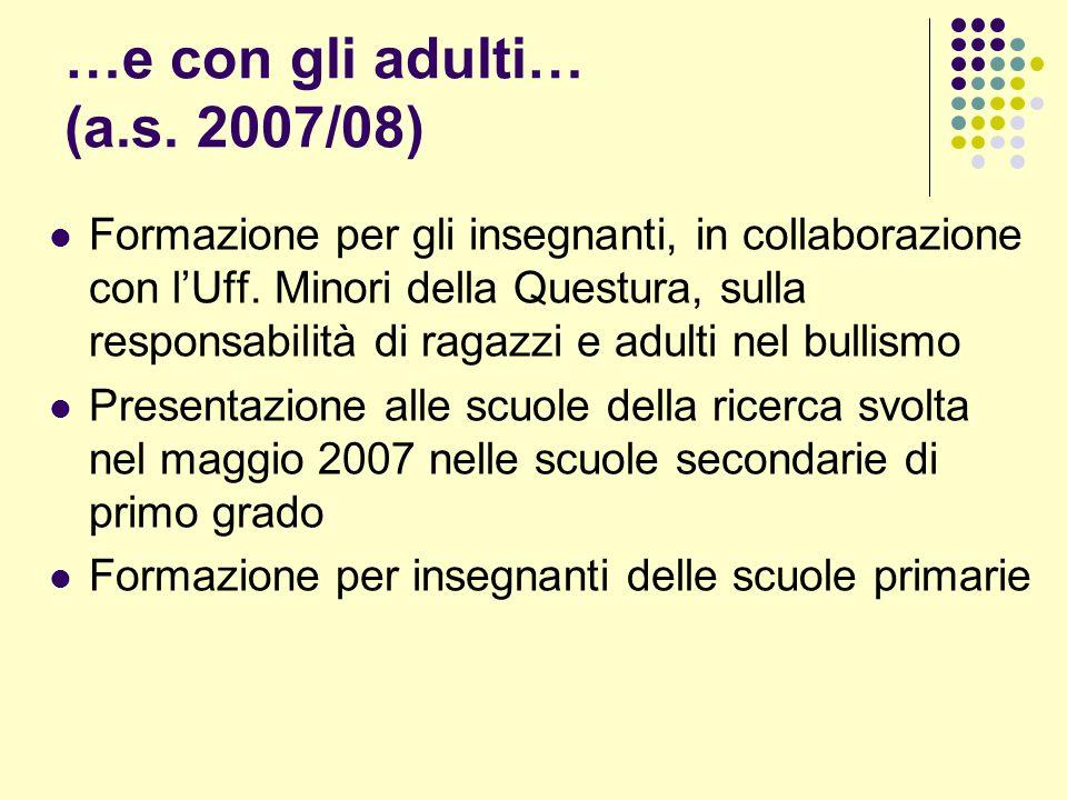 …e con gli adulti… (a.s. 2007/08) Formazione per gli insegnanti, in collaborazione con lUff.