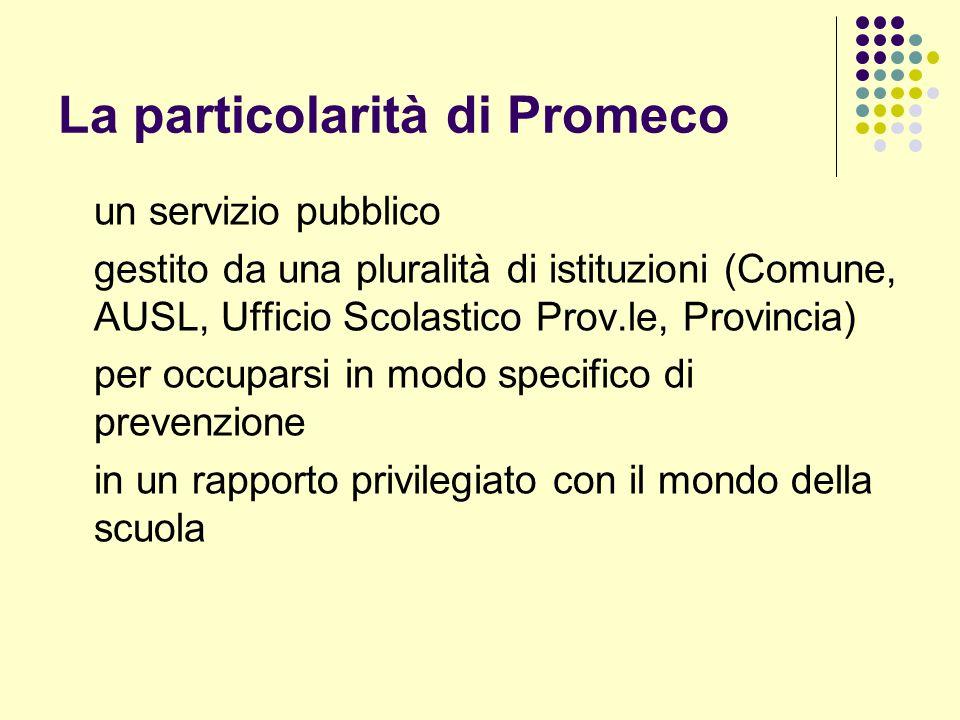 La particolarità di Promeco un servizio pubblico gestito da una pluralità di istituzioni (Comune, AUSL, Ufficio Scolastico Prov.le, Provincia) per occuparsi in modo specifico di prevenzione in un rapporto privilegiato con il mondo della scuola