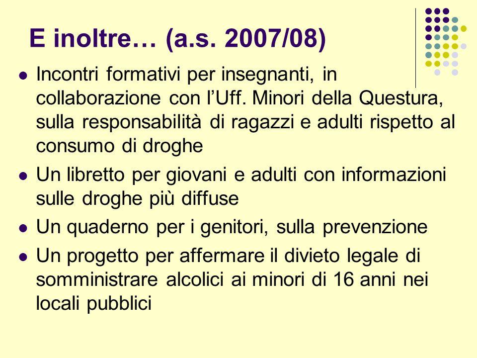 E inoltre… (a.s. 2007/08) Incontri formativi per insegnanti, in collaborazione con lUff.