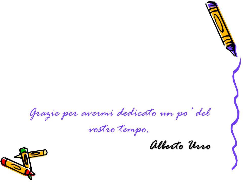 Alberto Urro Grazie per avermi dedicato un po del vostro tempo. Alberto Urro