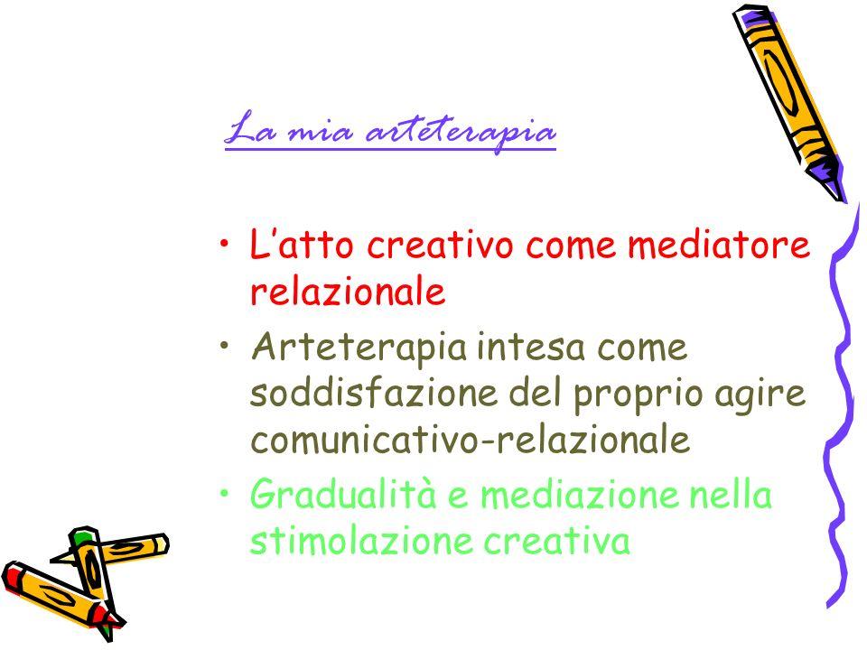 La mia arteterapia Latto creativo come mediatore relazionale Arteterapia intesa come soddisfazione del proprio agire comunicativo-relazionale Gradualità e mediazione nella stimolazione creativa