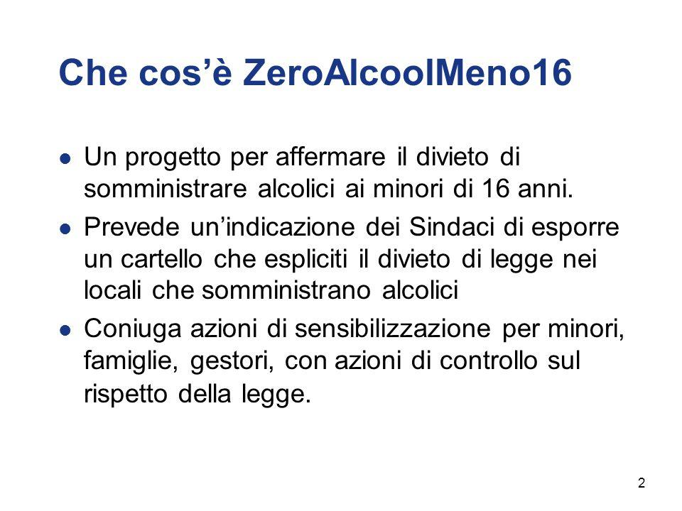 Che cosè ZeroAlcoolMeno16 Un progetto per affermare il divieto di somministrare alcolici ai minori di 16 anni. Prevede unindicazione dei Sindaci di es