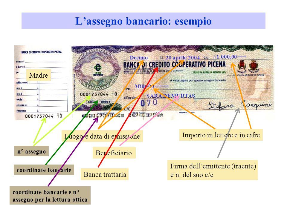 Assegno bancario Beneficiario Trattario (banca trassata) Traente – emittente (correntista) Paga lassegno a vistaConsegna lassegno Ordina di pagare 1 2