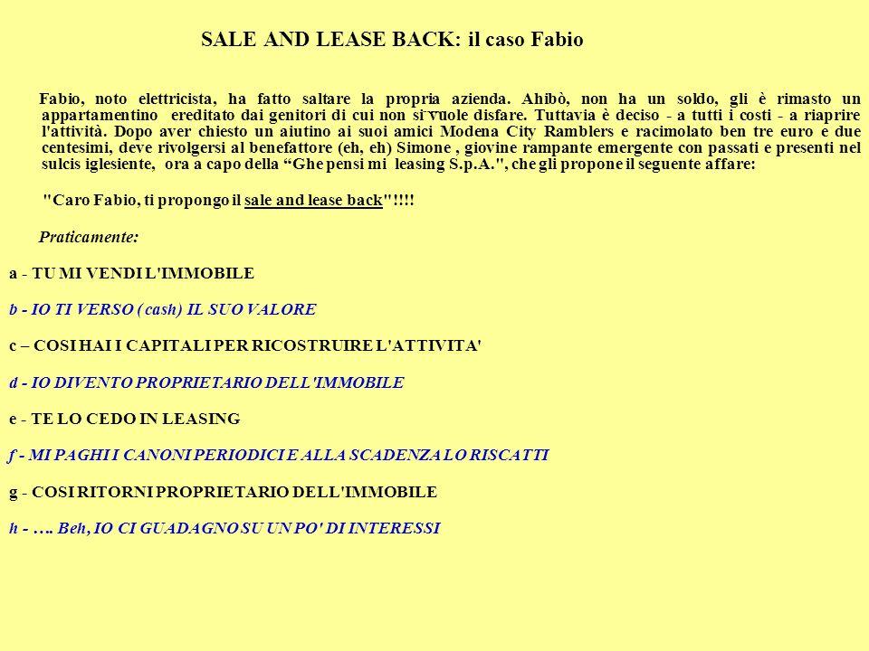 SALE AND LEASE BACK: il caso Fabio Fabio, noto elettricista, ha fatto saltare la propria azienda.