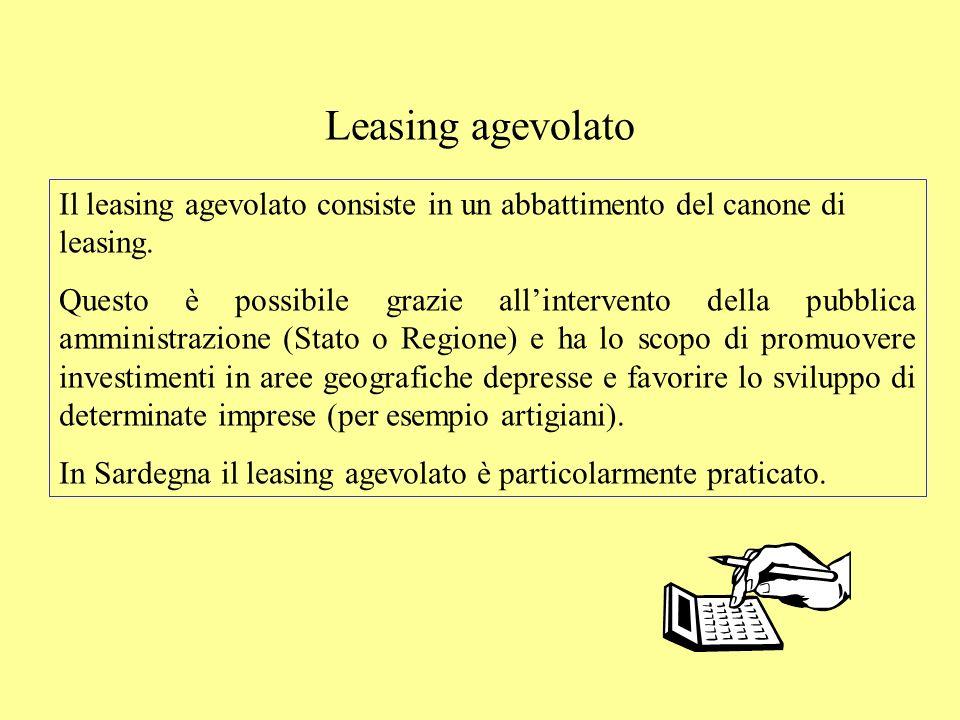 Leasing agevolato Il leasing agevolato consiste in un abbattimento del canone di leasing. Questo è possibile grazie allintervento della pubblica ammin