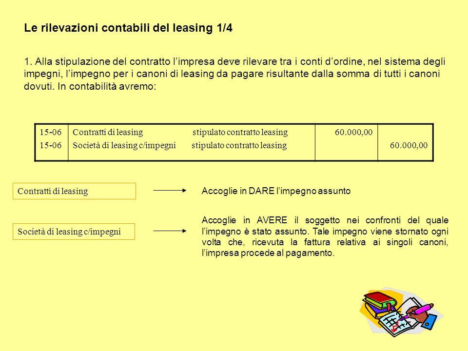 Le rilevazioni contabili del leasing 1/4 1. Alla stipulazione del contratto limpresa deve rilevare tra i conti dordine, nel sistema degli impegni, lim