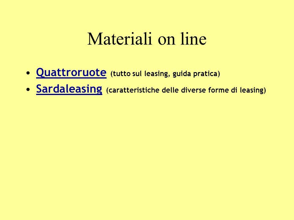Materiali on line Quattroruote (tutto sul leasing, guida pratica)Quattroruote Sardaleasing (caratteristiche delle diverse forme di leasing)Sardaleasing