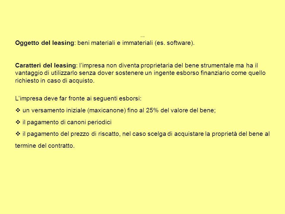Oggetto del leasing: beni materiali e immateriali (es. software). Caratteri del leasing: limpresa non diventa proprietaria del bene strumentale ma ha