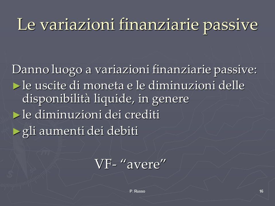 P. Russo16 Le variazioni finanziarie passive Danno luogo a variazioni finanziarie passive: le uscite di moneta e le diminuzioni delle disponibilità li