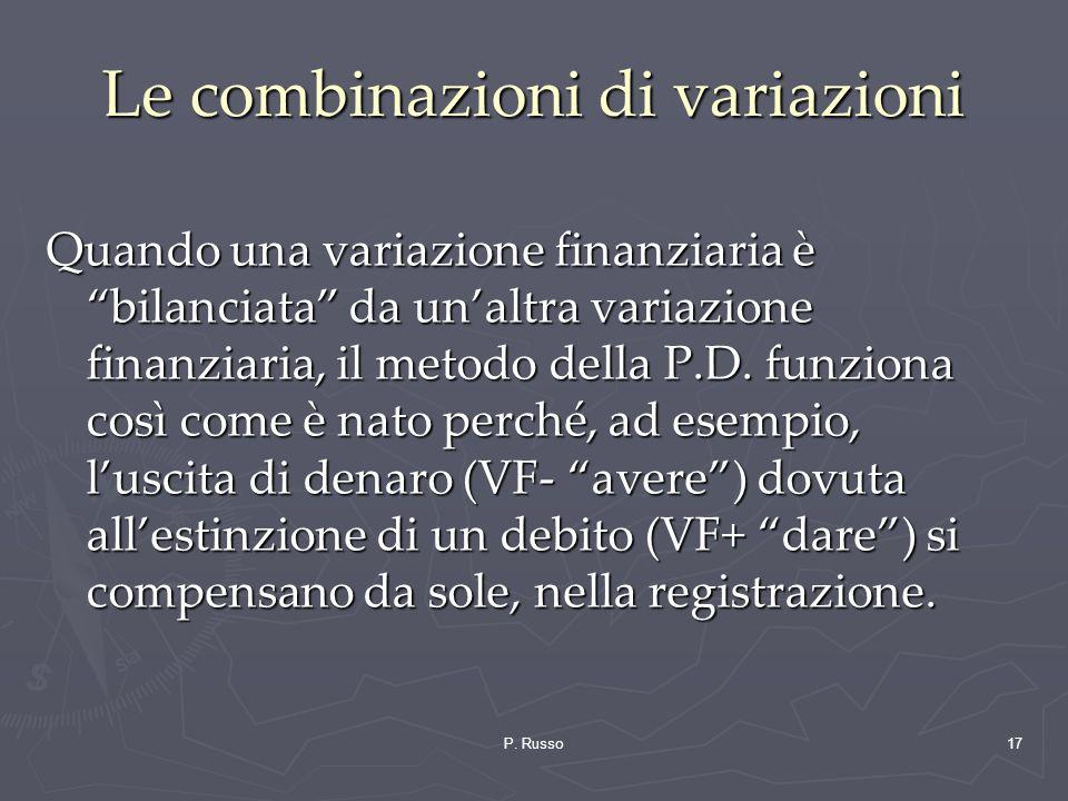 P. Russo17 Le combinazioni di variazioni Quando una variazione finanziaria è bilanciata da unaltra variazione finanziaria, il metodo della P.D. funzio
