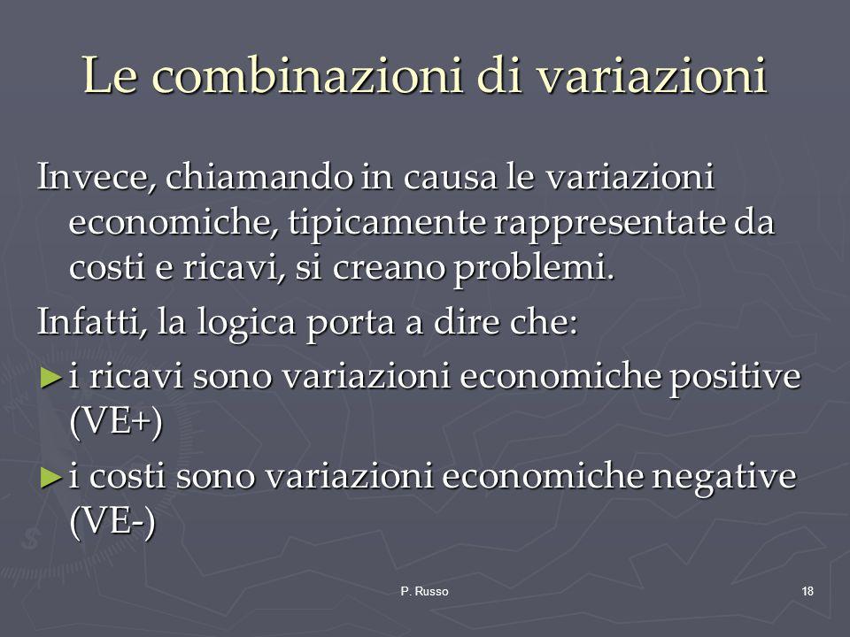 P. Russo18 Le combinazioni di variazioni Invece, chiamando in causa le variazioni economiche, tipicamente rappresentate da costi e ricavi, si creano p